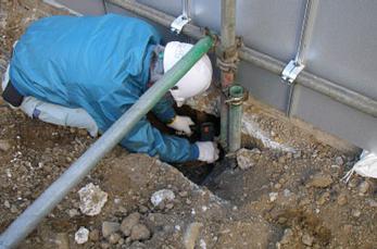 衝撃弾性波法によるコンクリート基礎深さの調査
