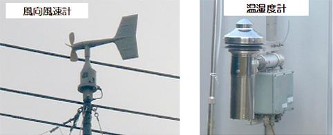 画像:風向風速計と湿温度計